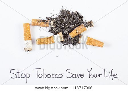 Cigarette Butts And Ash, Stop Tobacco Save Your Life