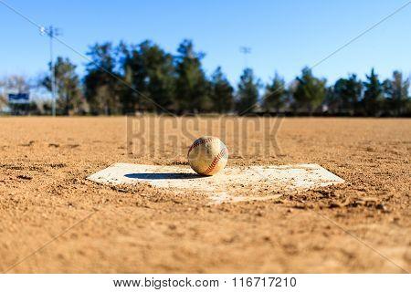 Baseball In A Baseball Field In California Mountains