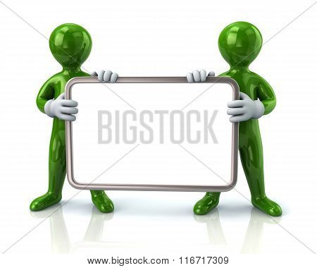 Two Green Men Holding Blank Signboard