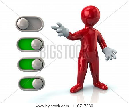 Red Man And Toggle Switches