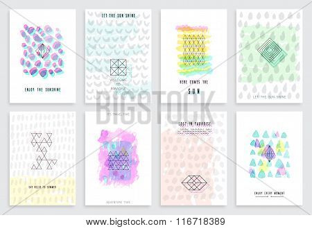 Hand Drawn Watercolor Set Of Cards.