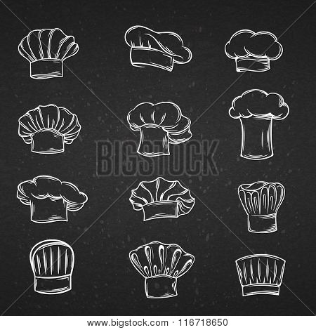 Chef caps, hats and toques icons .