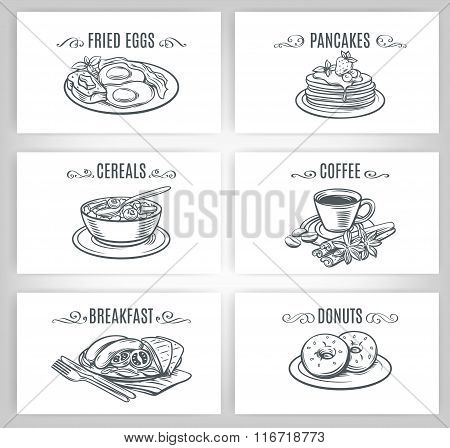 Set of decorative banners breakfast