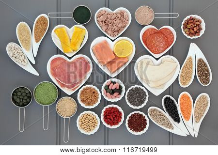 Superfood and high protein food diet of meat, fish, pulses, grains, nuts, seeds, cereals, fruit, vitamin pills and supplement powders. Also eaten by body builders.