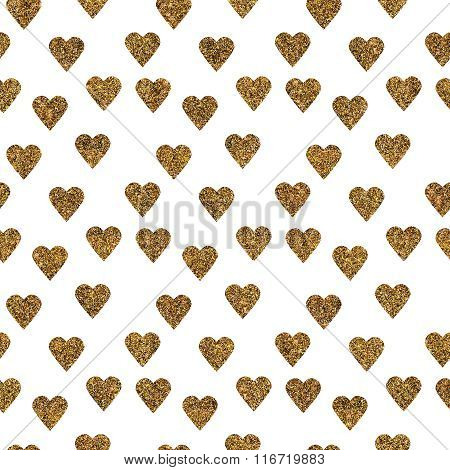 Pattern With Gold Glitter Textured Hearts Confetti On White Background.