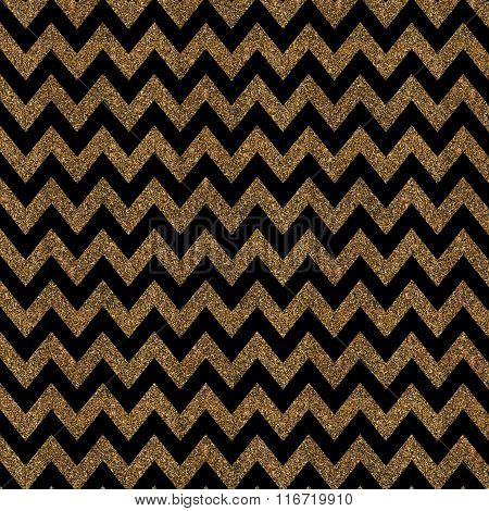 Pattern With Gold Glitter Textured Chevron On Black Background.