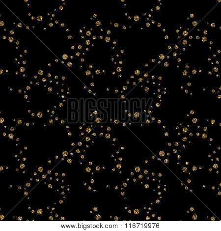 Pattern With Gold Glitter Textured Circles On Black Background.