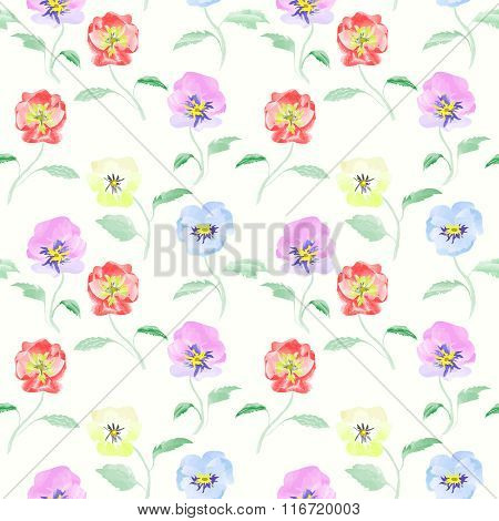 Watercolor Flowers Viola Seamless Pattern Bright Background