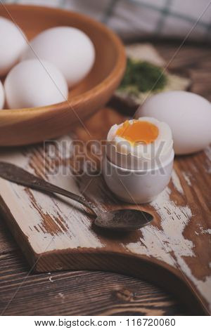 Breakfast with boiled egg with toasted bread