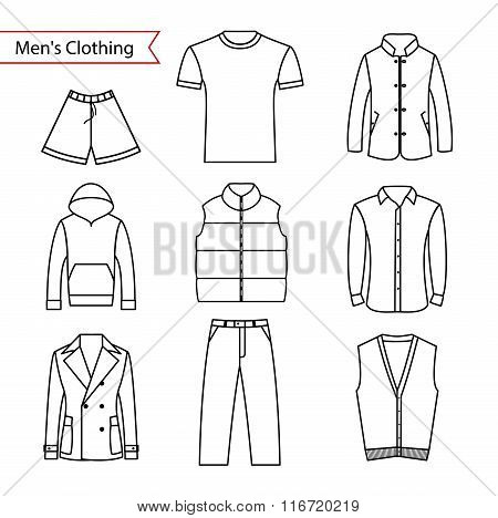 Set of vector icons of men's clothing for your design. Outline men's clothing icons