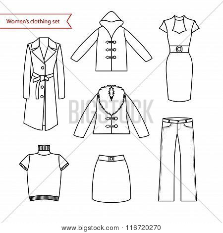 Set of vector icons of women's clothing for your design. Outline women's clothing icons