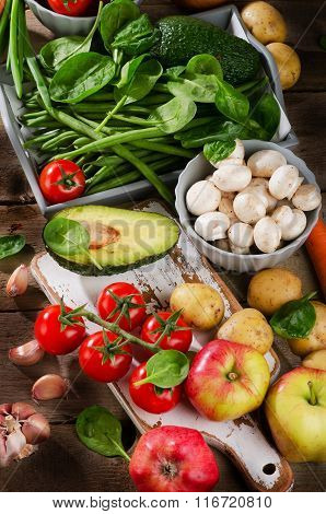 Healthy Raw Vegetables And Fruits.
