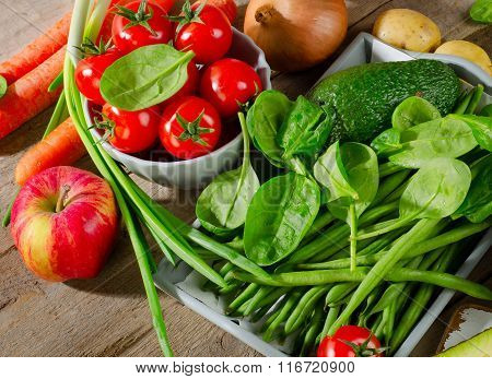 Healthy Vegetables And Spinach.