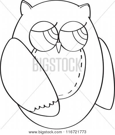 Cute vector owl in outline form for coloring