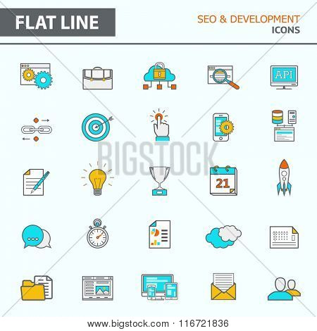 Set of modern simple line icons in flat design. Trendy infographic seo and development concept elements for banners, layouts, corporate  brochures, templates and web sites. Vector eps10 illustration