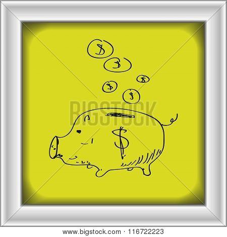 Simple Doodle Of A Piggy Bank
