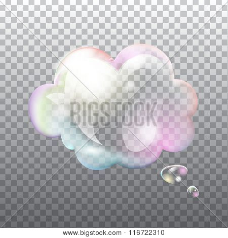 Abstract transparent soap speech bubble with flares on light grey background. Vector eps10 illustration