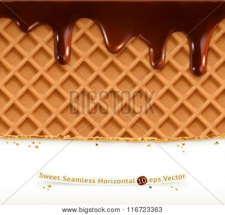 Waffles and chocolate, vector seamless horizontal pattern