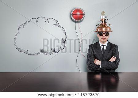 Cloud concept with alert light and vintage businessman
