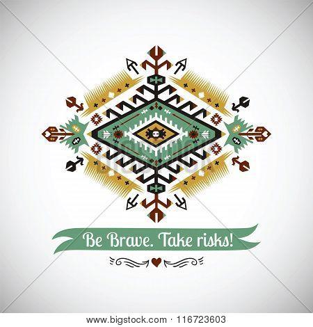 Vector bright decorative element on native ethnic style
