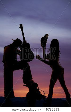 Silhouette Cowgirl Shorts Butt Out Hold Hat Cowboy With Guitar