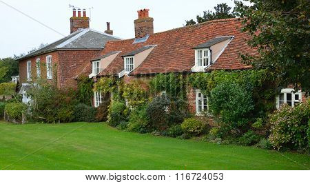 Red brick cottages at Orford Suffolk England.