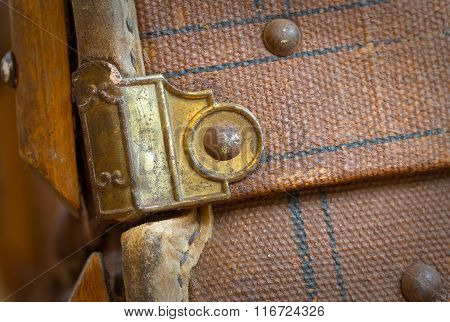 Old Canvas Trunk Detail Close Up
