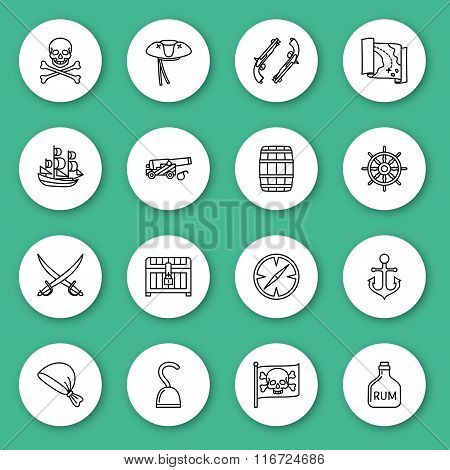 Set of line icon. Pirate. Contour round icons with shadow. Info graphic elements. Vector illustratio