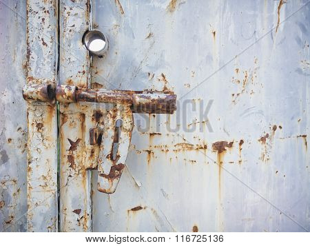 Metal Door Gate Lock Grunge Textured Surface Background