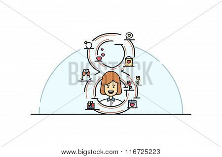 Womens day  illustration. Line art. Stock vector.