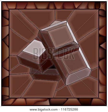 Mosaic Vector Illustration Of Chocolate Bars.