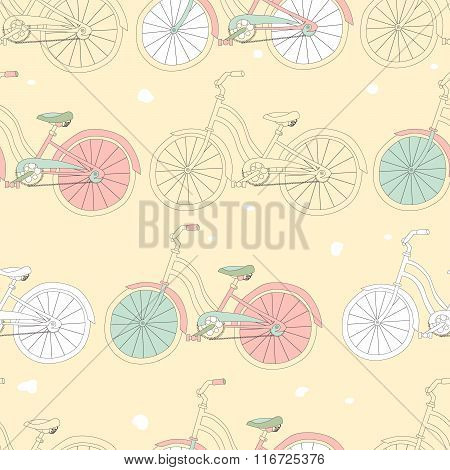 Vector Seamless Pattern With Vintage Bicycles.