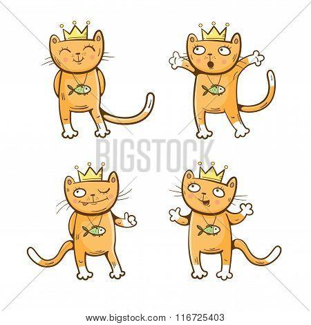 Cartoon Cats Set.