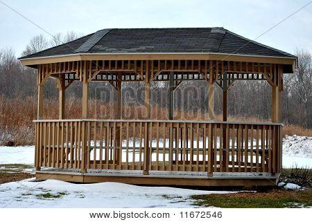 Wooden Gazebo in Winter