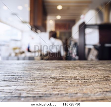 Table Top Counter Blurred People in Restaurant Background