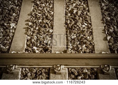 Close Up Of Binary Of A Railway