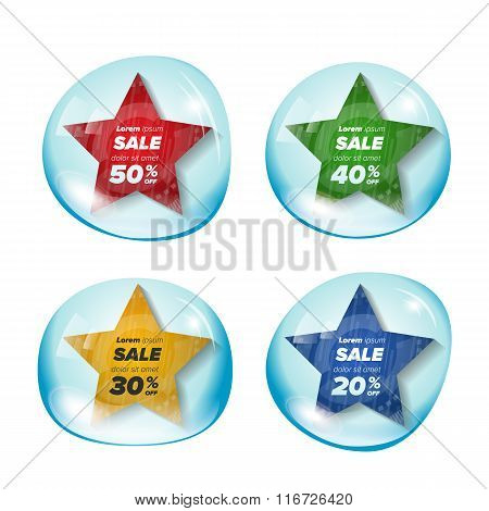 Summer sale star stickers in a bubble