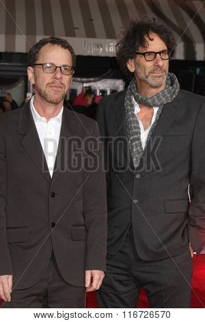 LOS ANGELES - FEB 1:  Ethan Coen, Joel Coen at the Hail, Caesar World Premiere at the Village Theater on February 1, 2016 in Westwood, CA