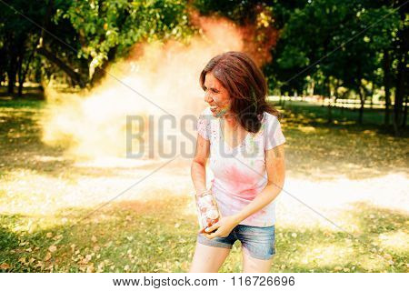Young And Beautiful, Hipster Girl Playing In The Park On Holi Color Festival With Colour Paint Powde