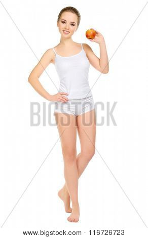 Young healthy girl with apple isolated