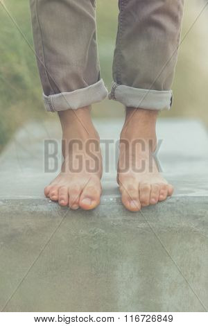 Young Handsome Man Posing Bare Feet