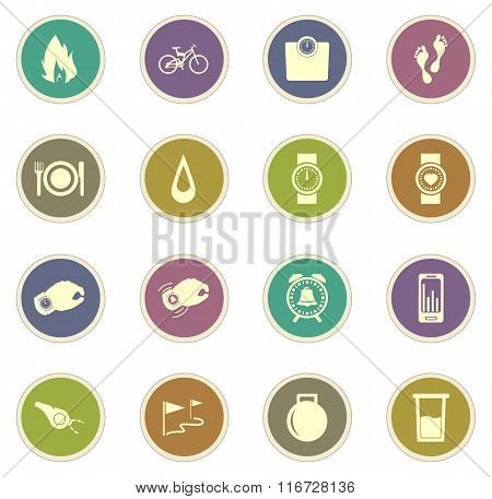 Jogging and workout icons set