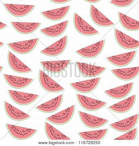 Seamless pattern with pink slices of watermelon with seeds on white background. Vector