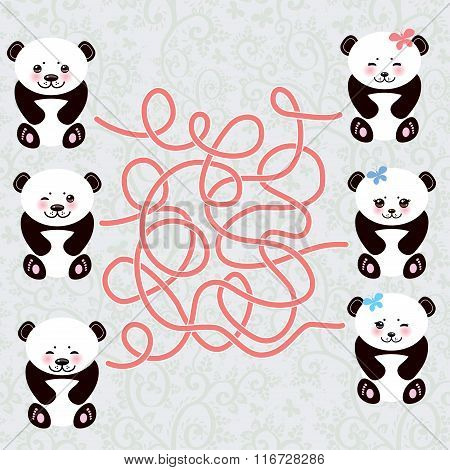 Kawaii funny panda white muzzle with pink cheeks and big black eyes. labyrinth game for Preschool Ch