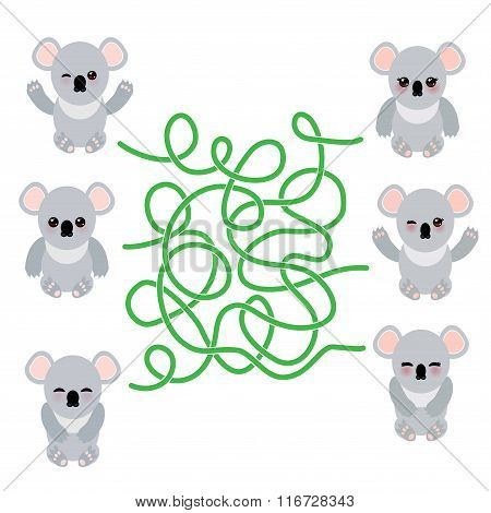 Funny cute koala set on white background. labyrinth game for Preschool Children. Vector