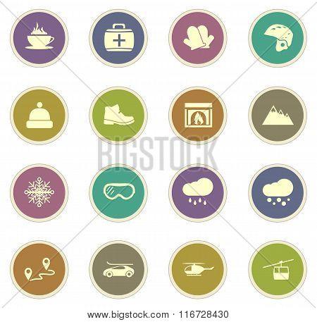 Skiing icons set