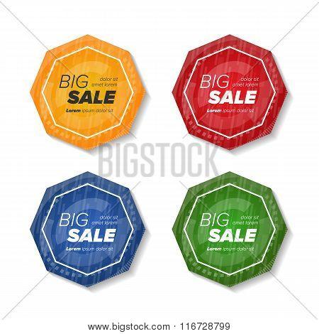Summer sale polygonal stickers