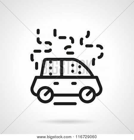 Car damage black line vector icon