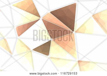 Brown Geometric Rumpled Triangular Low Poly Origami Style Gradient Illustration With White Net Graph