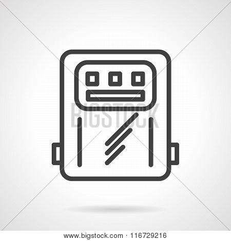 Power counter black line vector icon